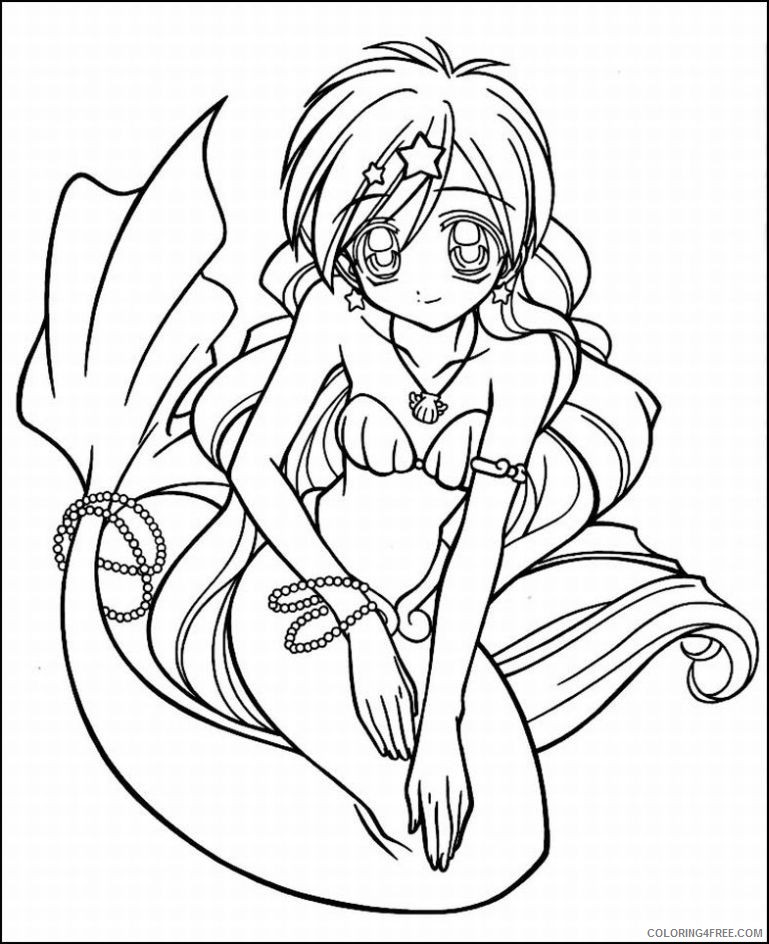 anime coloring pages mermaid Coloring4free