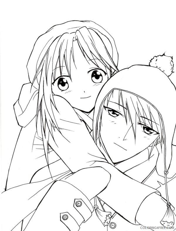 anime couple coloring pages in winter Coloring4free