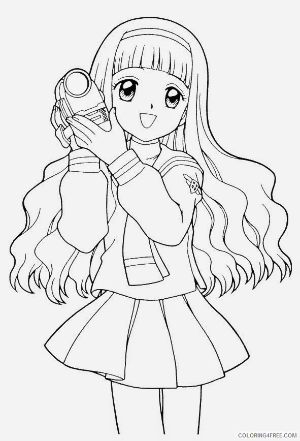 anime girl coloring pages holding camera Coloring4free
