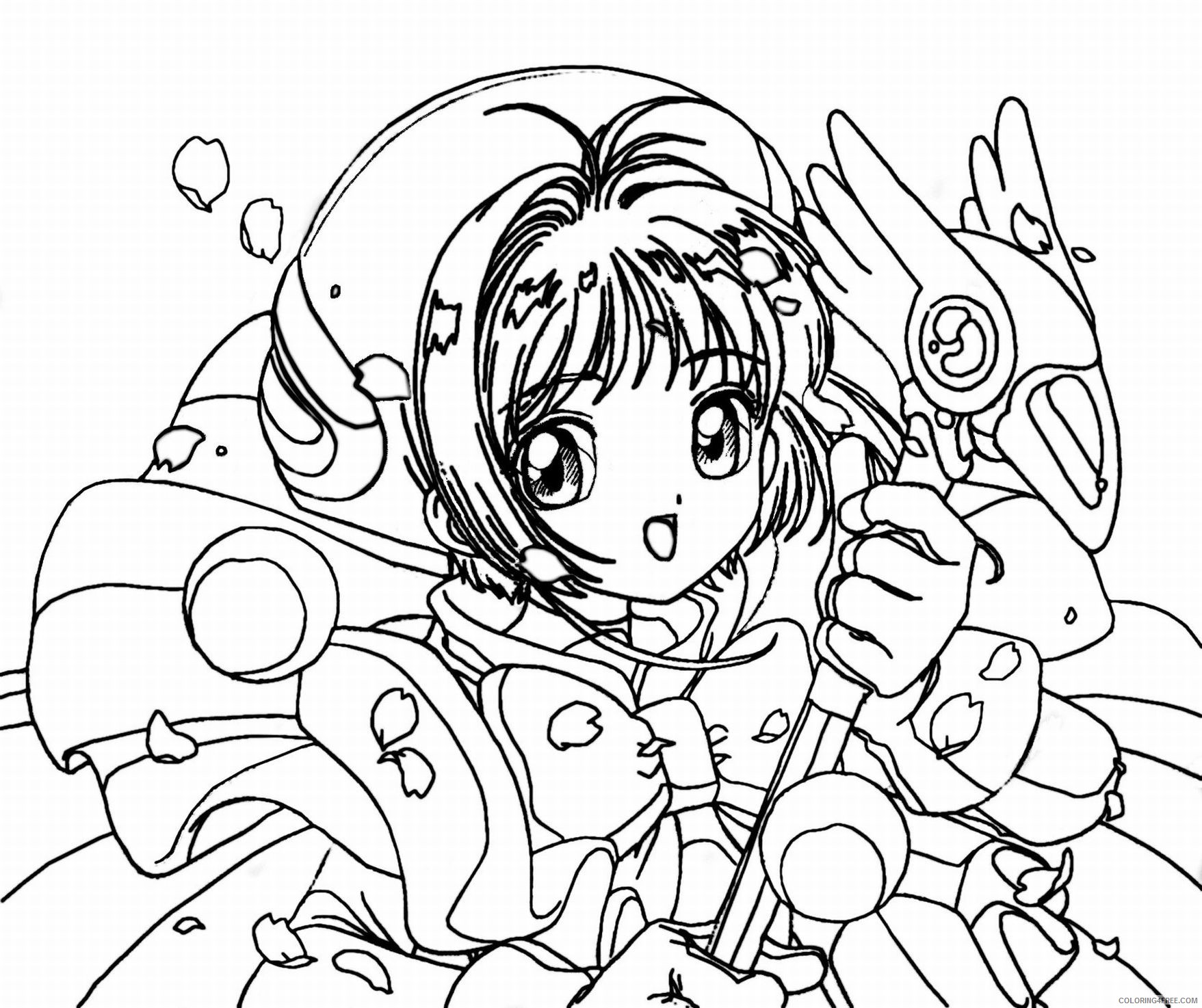 anime girl coloring pages with magic wand Coloring4free
