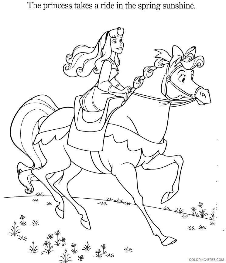 aurora coloring pages riding horse Coloring4free