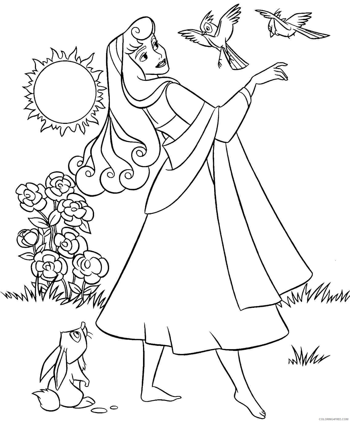 aurora coloring pages with forest animals Coloring4free