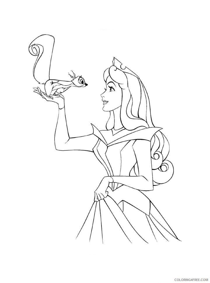 aurora coloring pages with squirrel Coloring4free