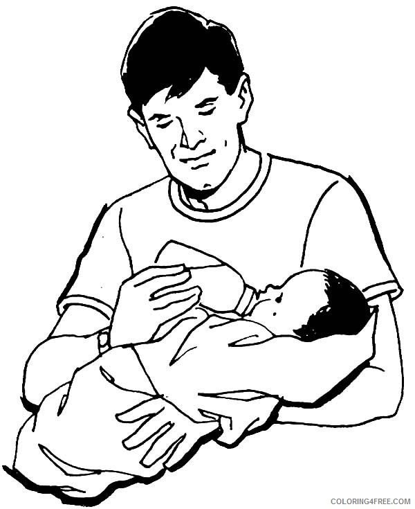 baby coloring pages with dad Coloring4free