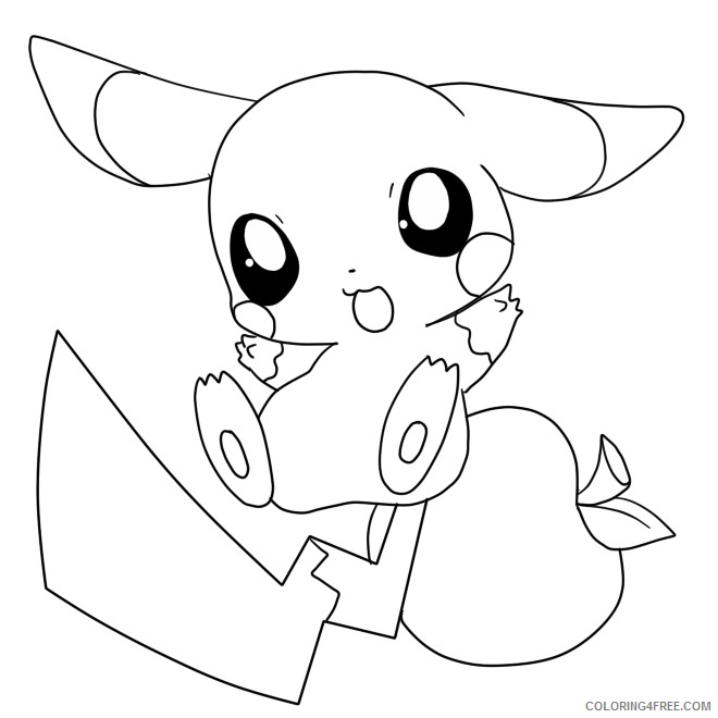 baby pikachu coloring pages cute Coloring4free