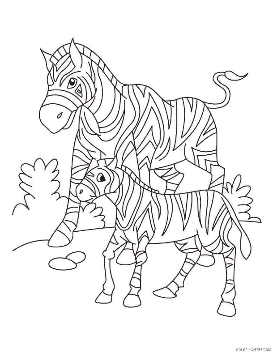 baby zebra coloring pages with mom Coloring4free