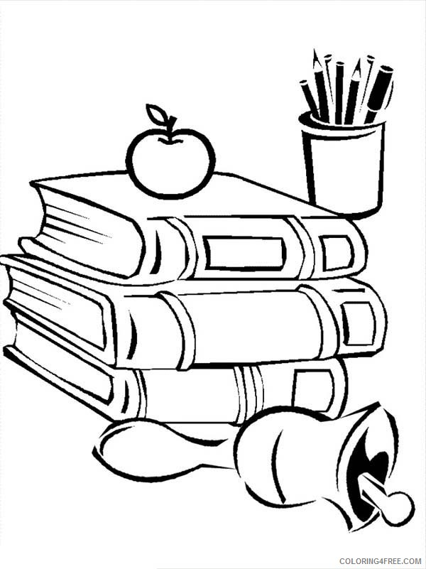 back to school coloring pages books and apple Coloring4free