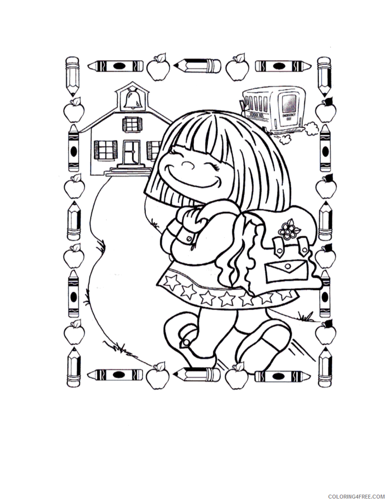 back to school coloring pages for girls Coloring4free