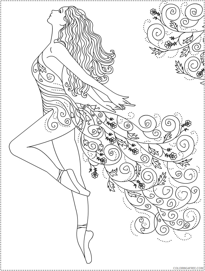 ballet coloring pages for adults Coloring4free