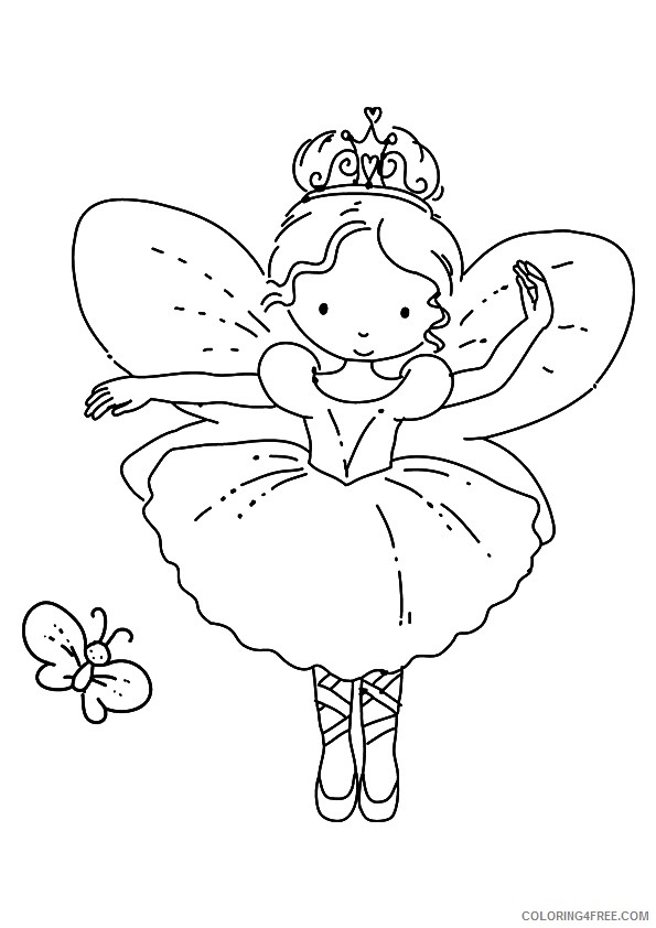 ballet coloring pages with butterfly Coloring4free