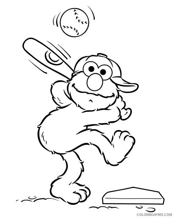 baseball coloring pages elmo batting Coloring4free