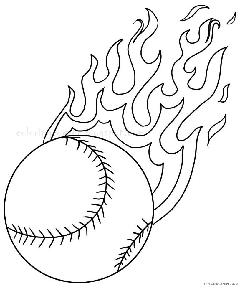 baseball coloring pages fire ball Coloring4free