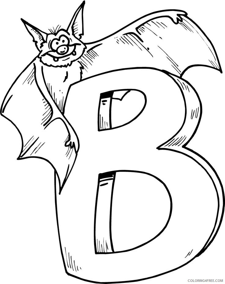 bat coloring pages b is for bat Coloring4free