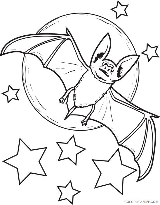 bat coloring pages halloween moon stars Coloring4free