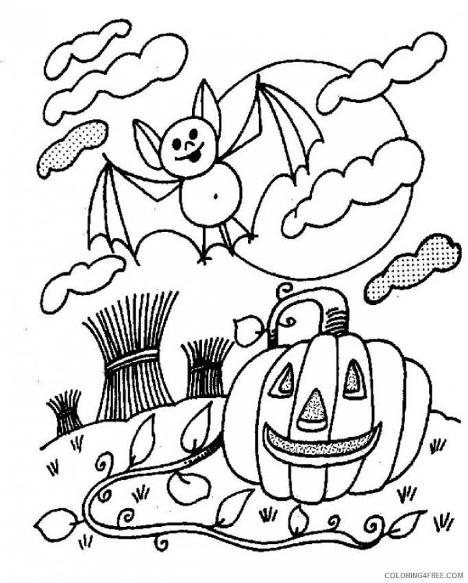 bat coloring pages halloween pumpkin Coloring4free