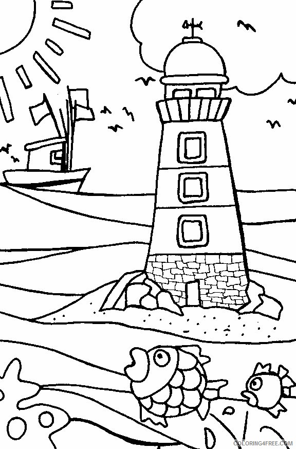 beach coloring pages lighthouse Coloring4free
