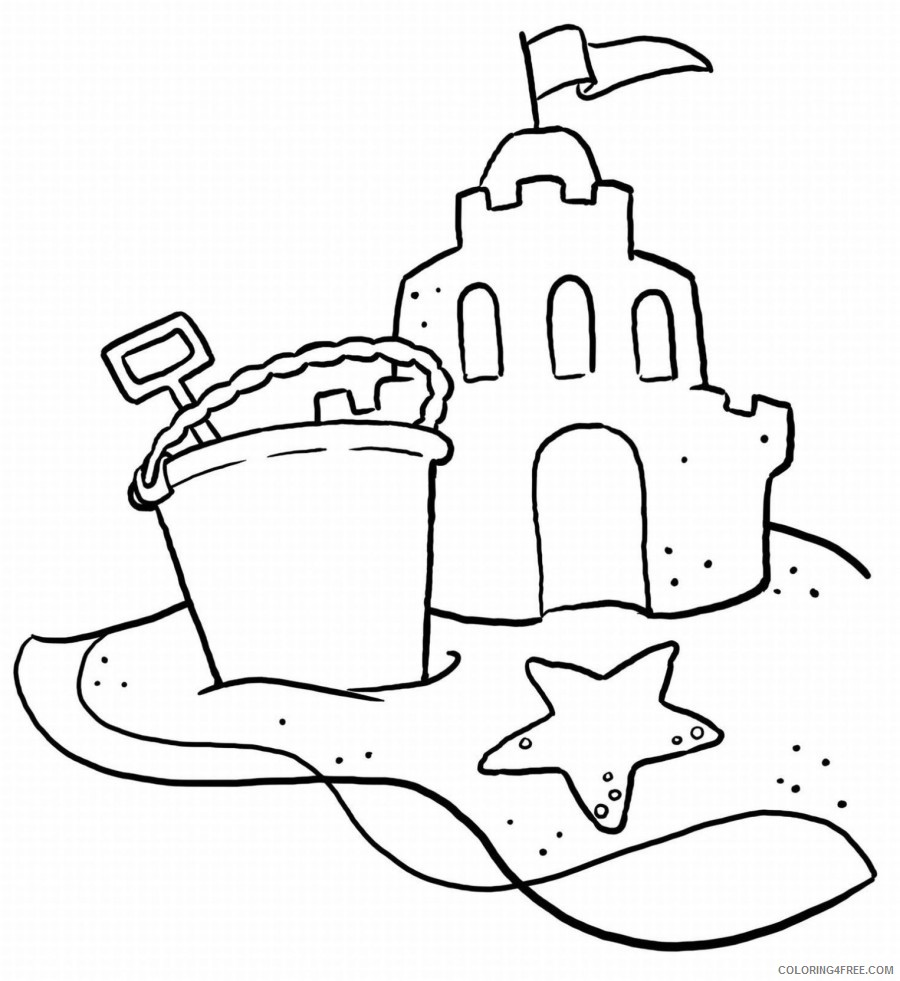 beach coloring pages sand castle Coloring4free