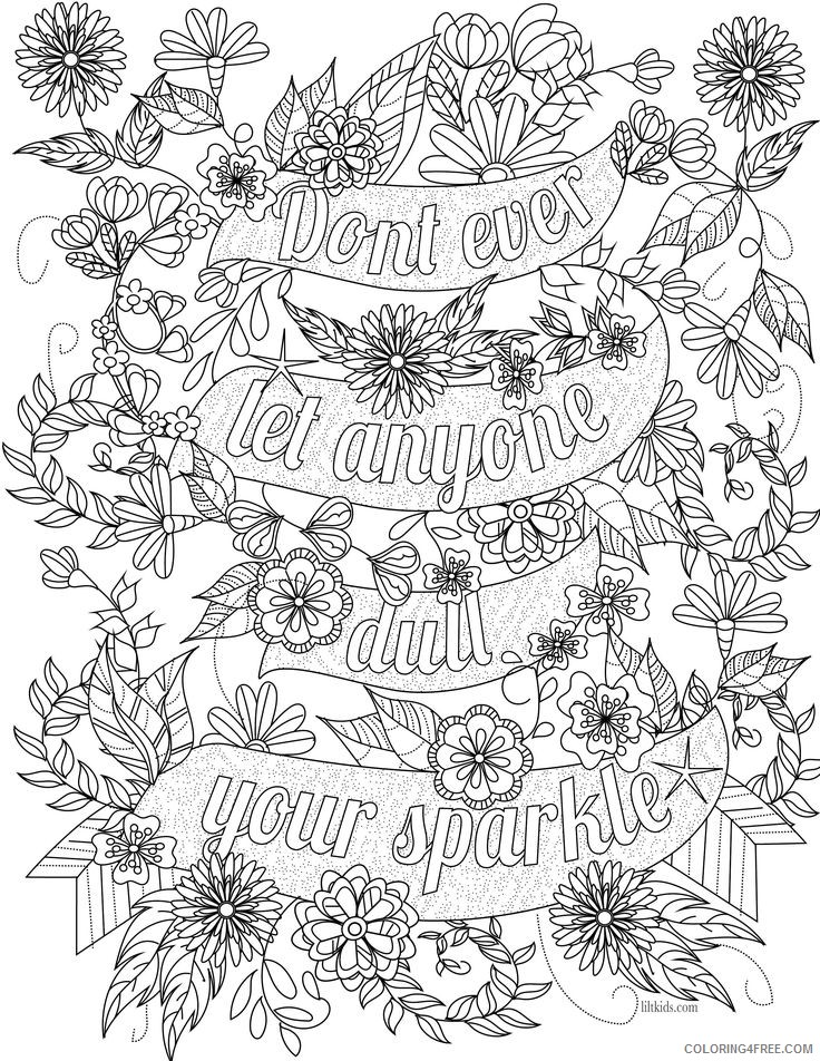 beautiful quote coloring pages for adults Coloring4free