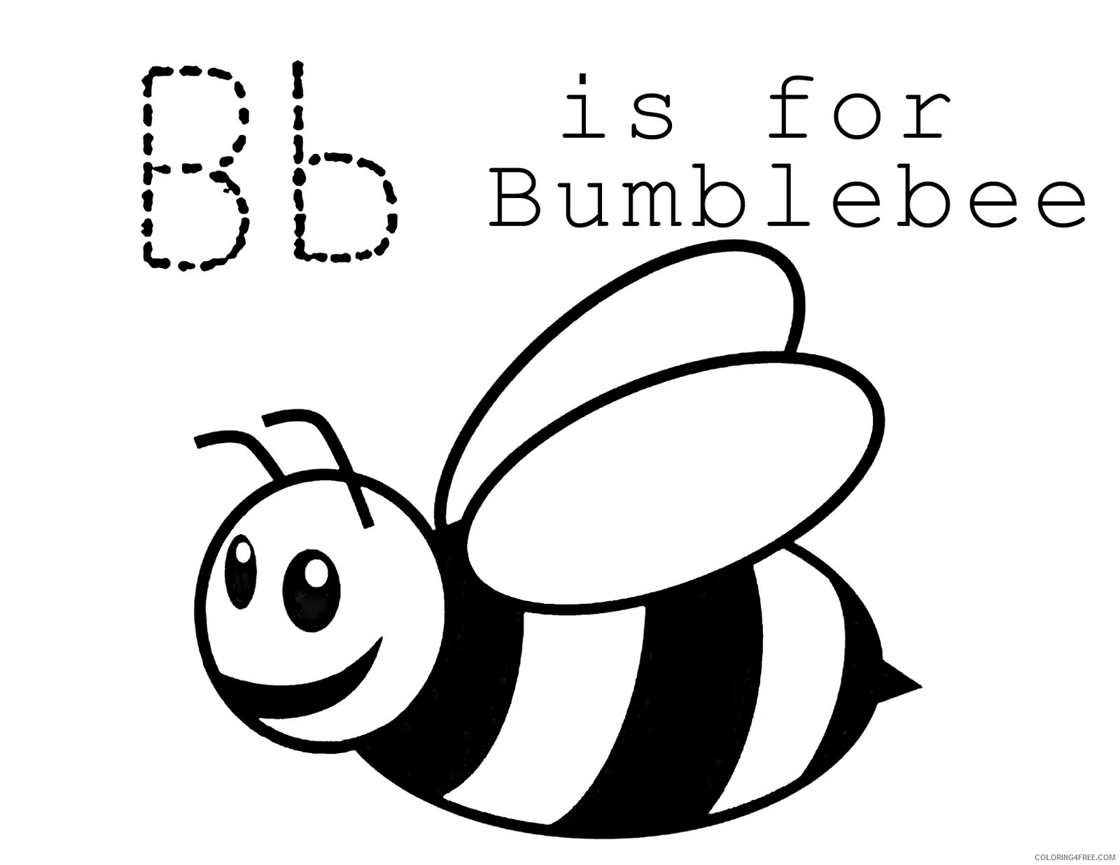 bee coloring pages b for bumble bee Coloring4free