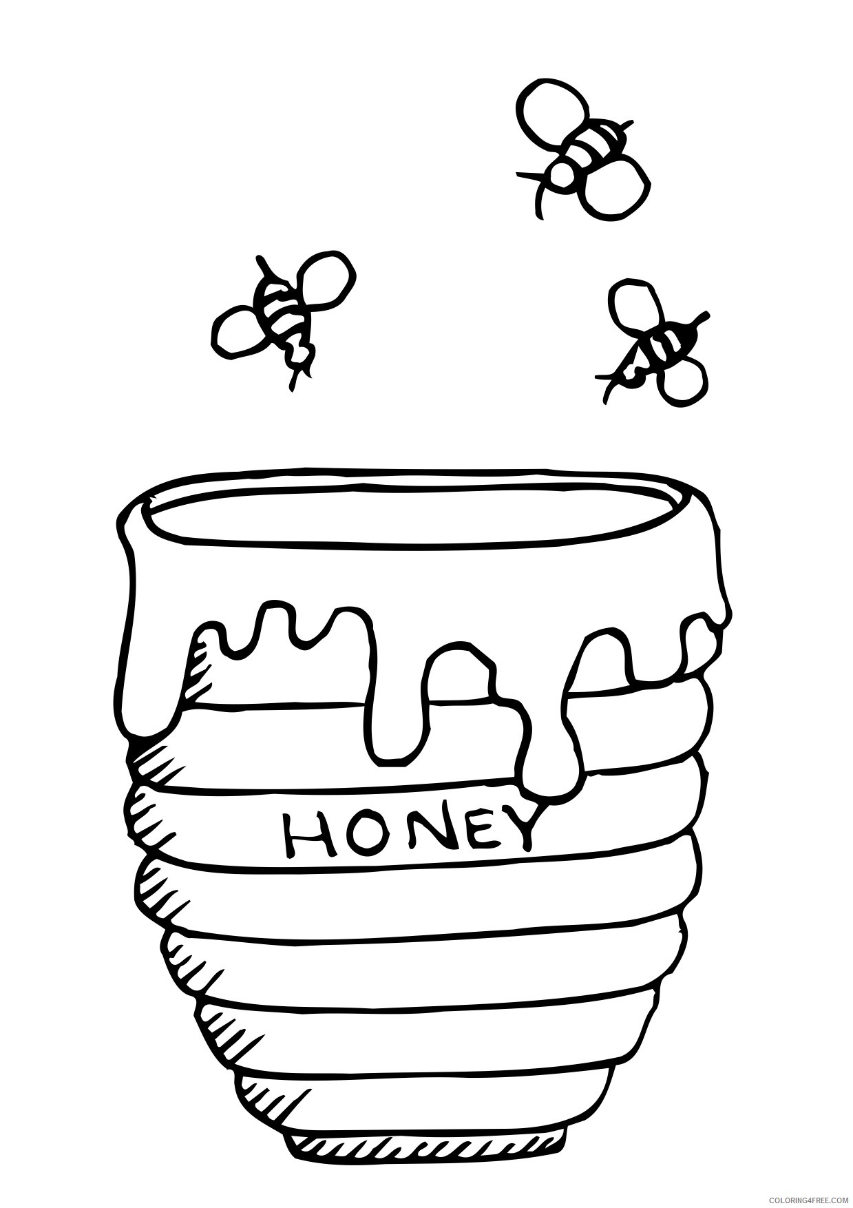 Bee Coloring Pages Honey Coloring4free Coloring4free Com