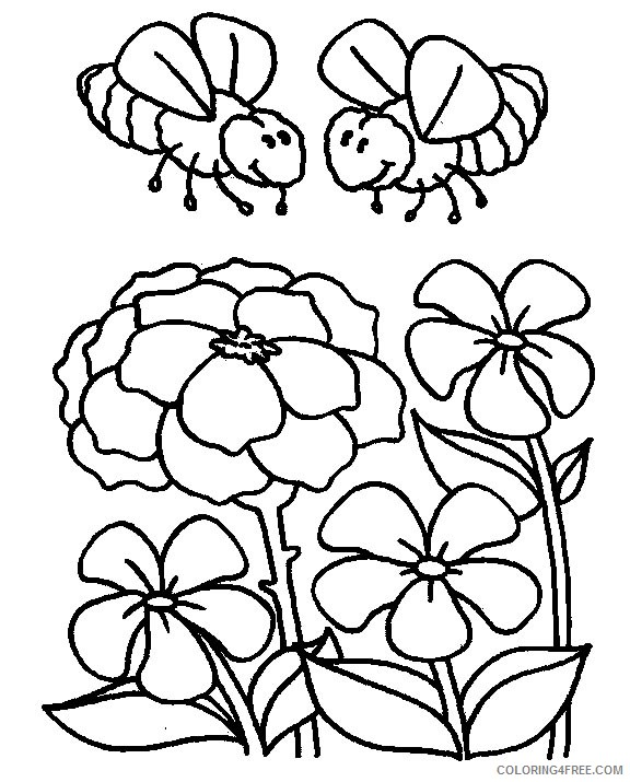 bee coloring pages in flowers garden Coloring4free