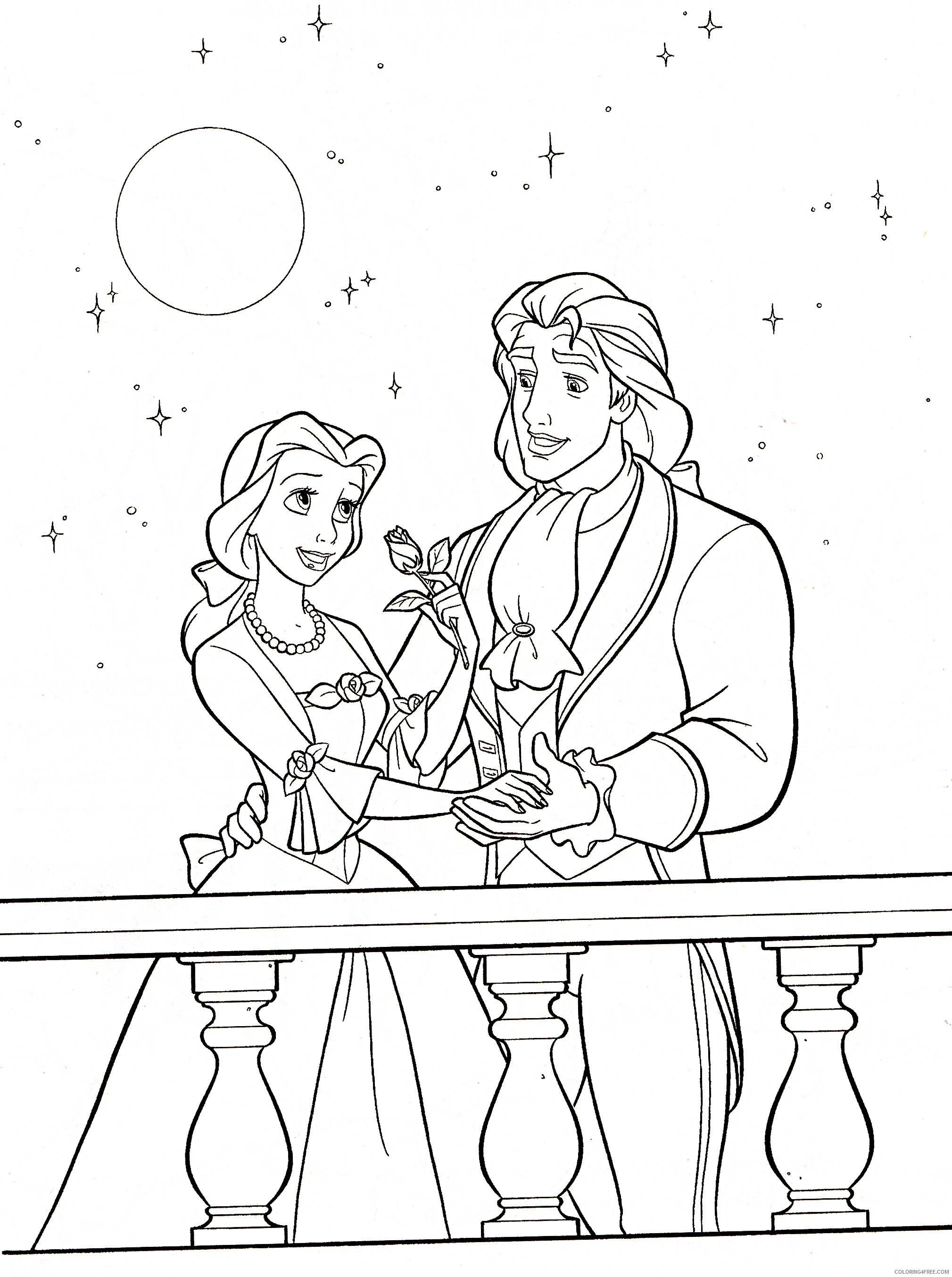 belle coloring pages and prince adam Coloring4free