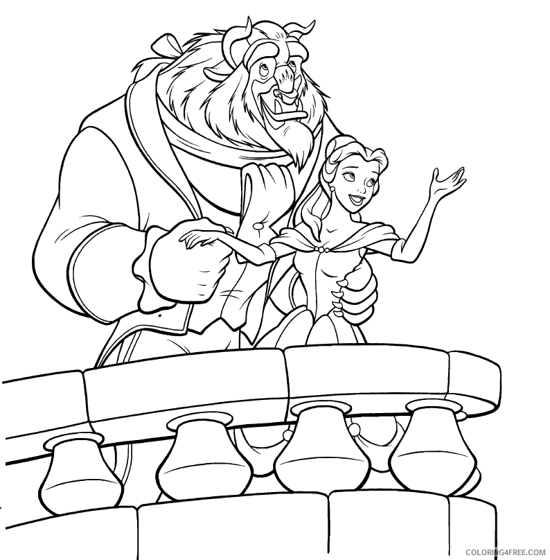 belle coloring pages and the beast Coloring4free