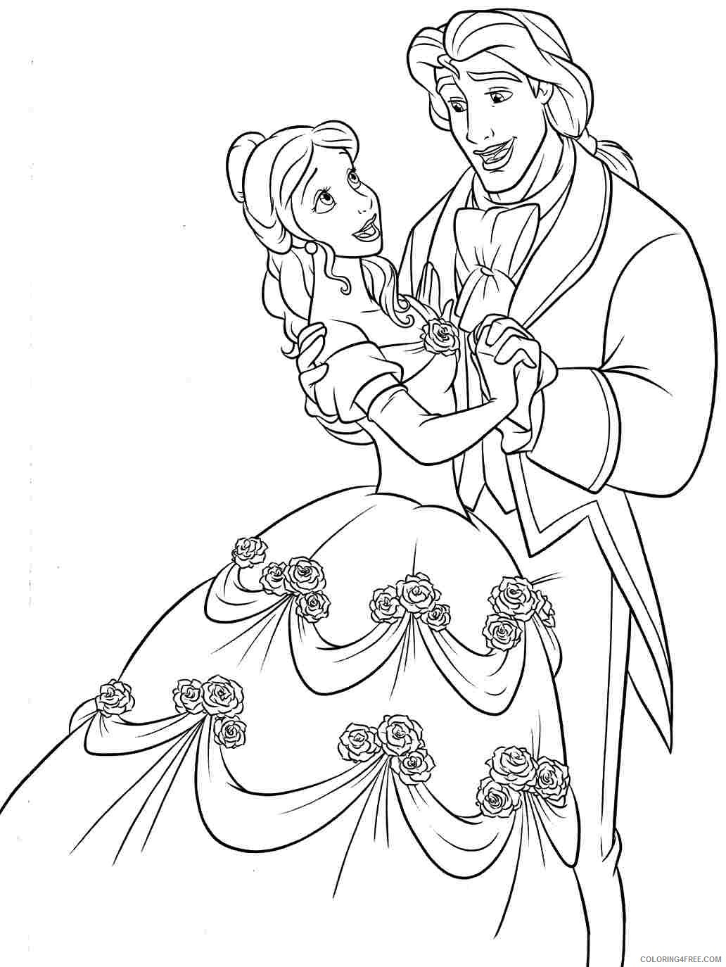 belle coloring pages and the prince Coloring4free
