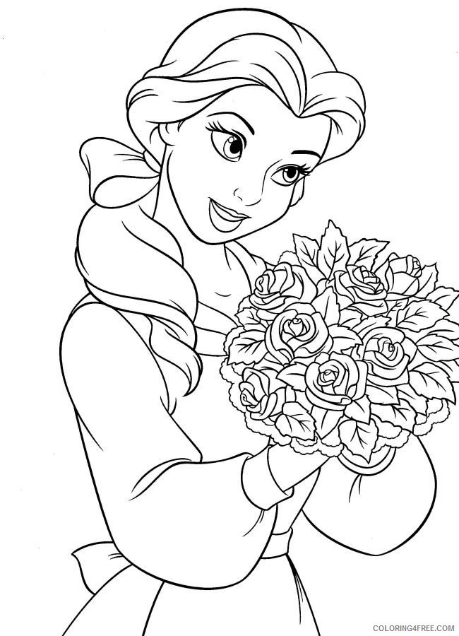 belle coloring pages carrying flowers Coloring4free