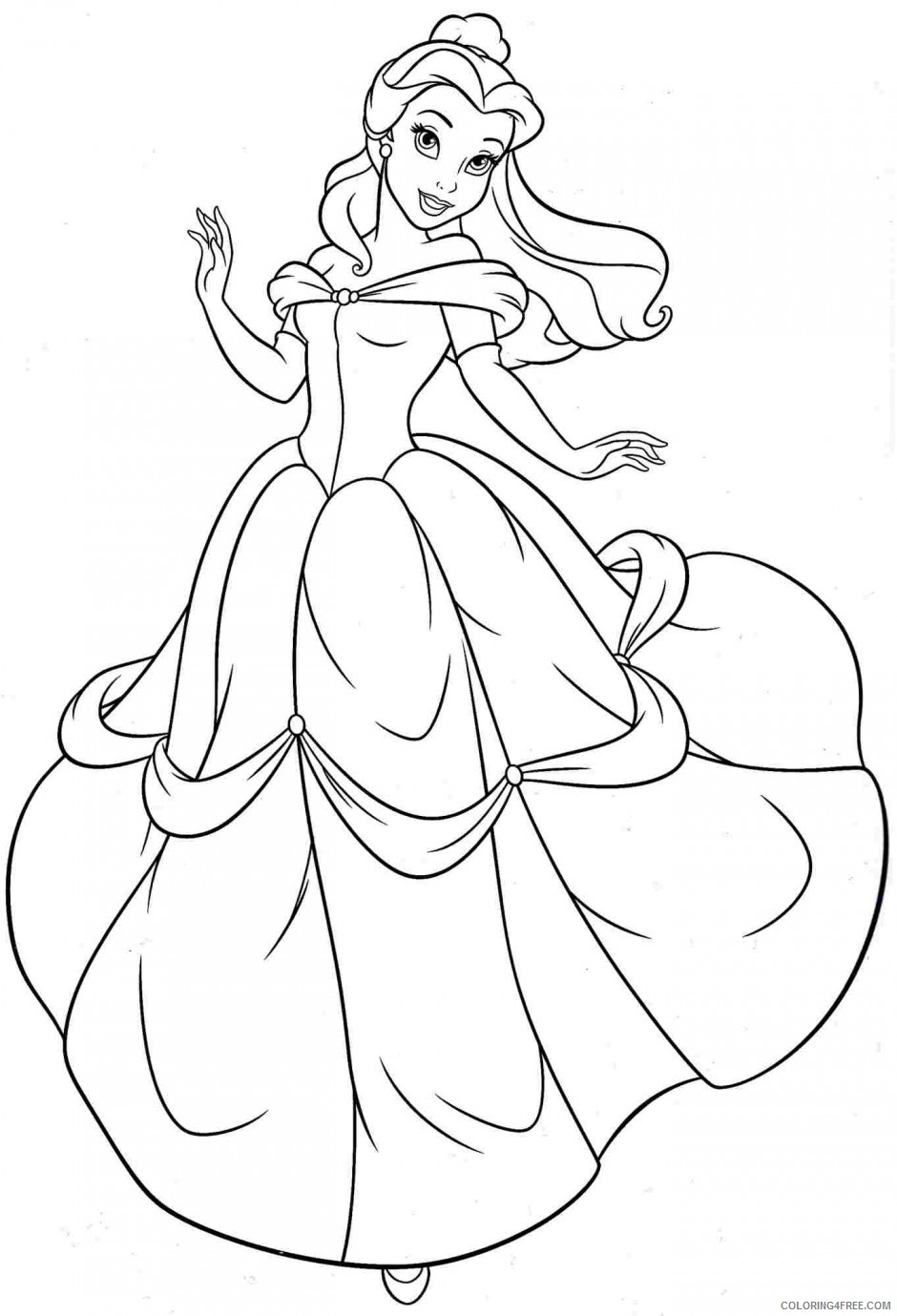 belle coloring pages dancing Coloring4free