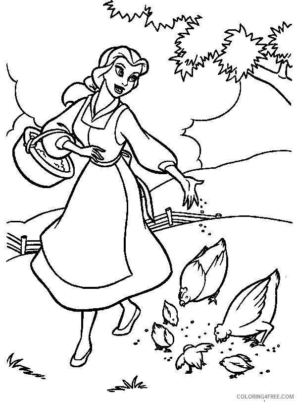 belle coloring pages feeding chickens Coloring4free