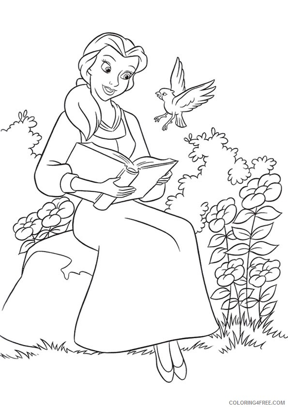 belle coloring pages reading book Coloring4free