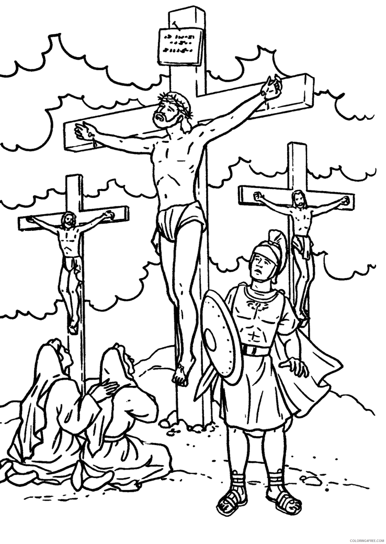 bible story coloring pages jesus crossed Coloring4free