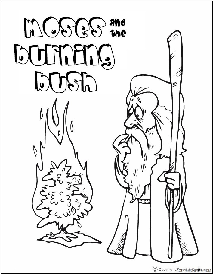 bible story coloring pages moses and burning bush Coloring4free