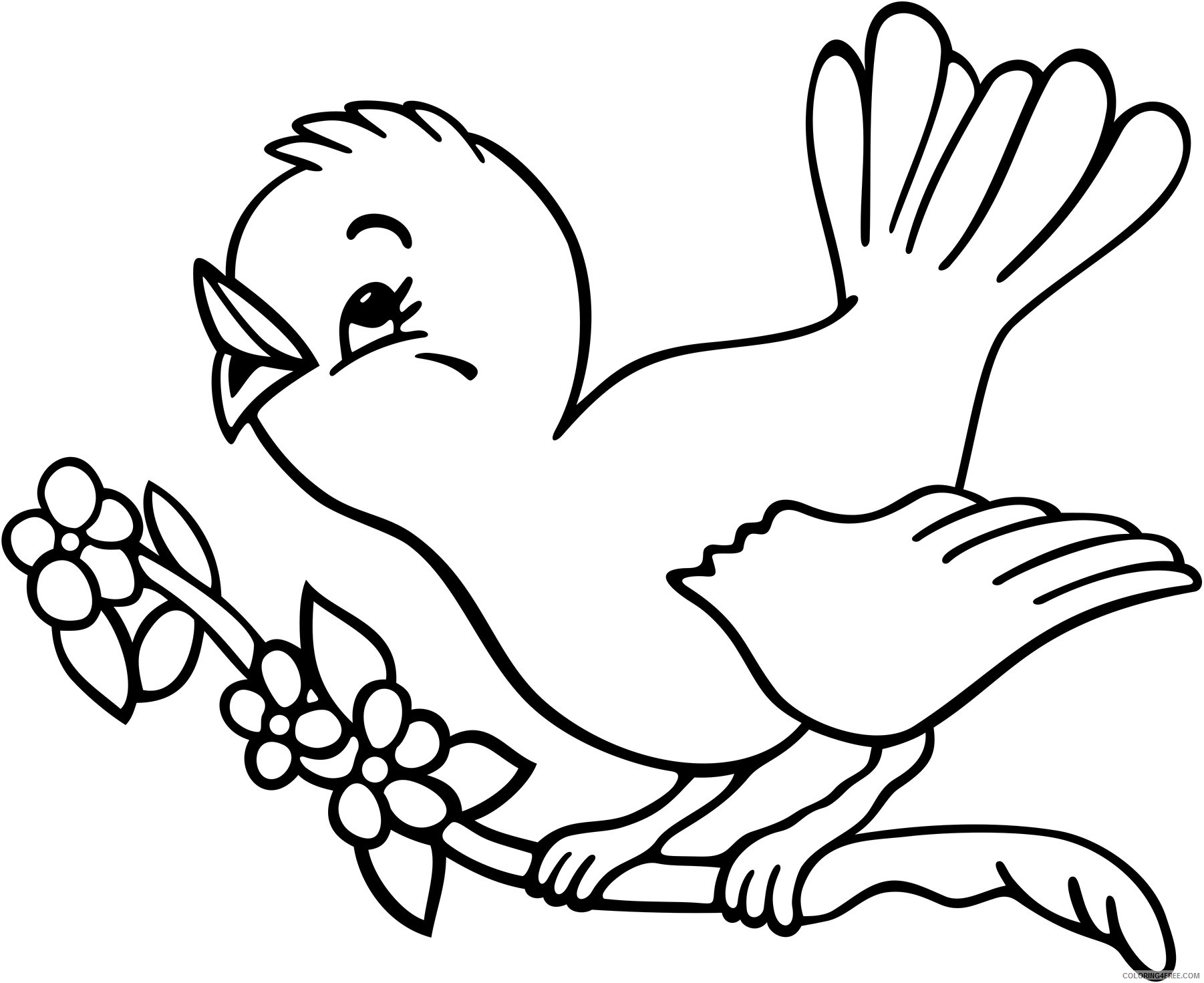 bird coloring pages perching on branch Coloring4free