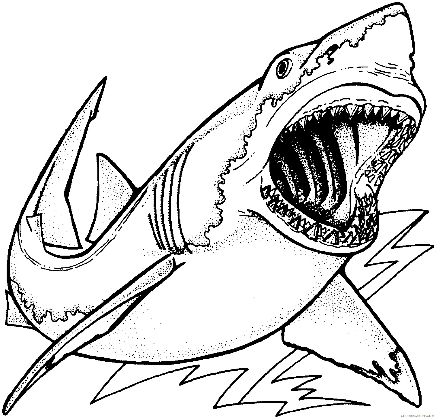 boy coloring pages shark Coloring4free