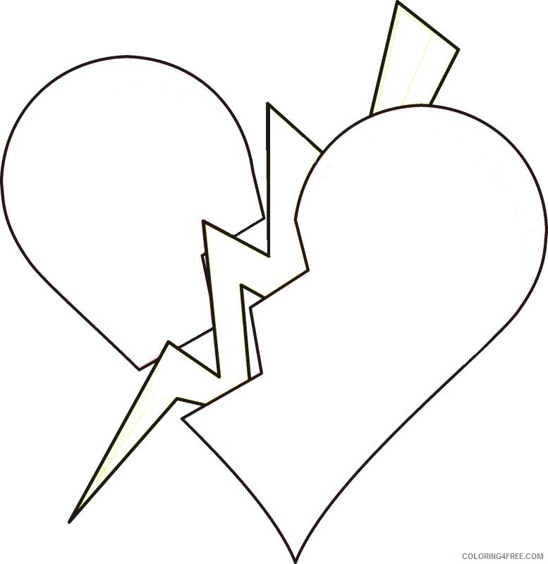 broken heart coloring pages Coloring4free