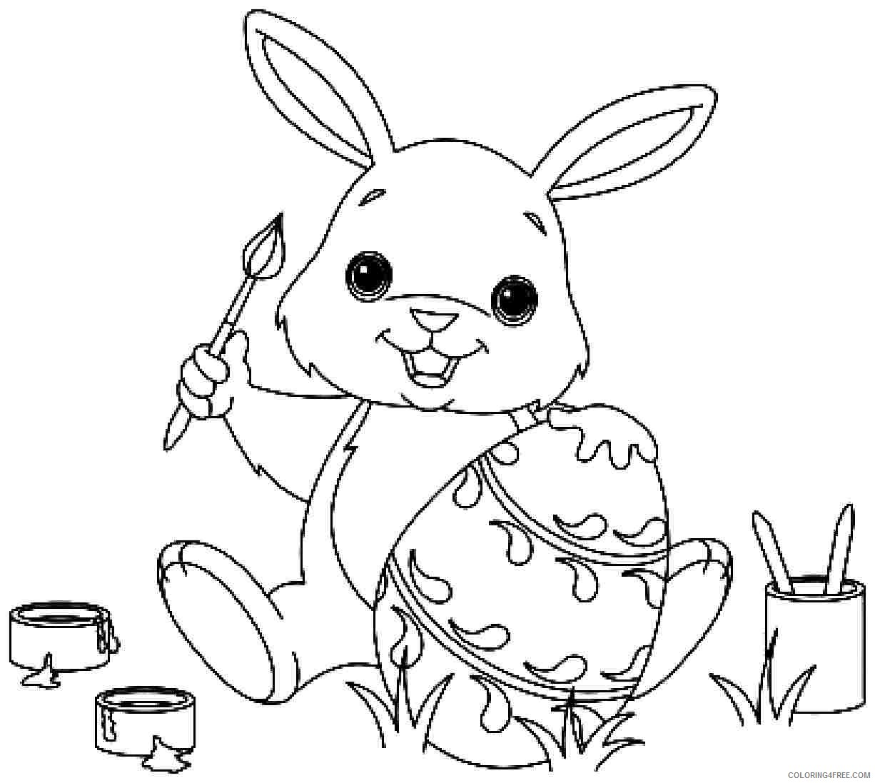 bunny coloring pages painting easter egg Coloring4free