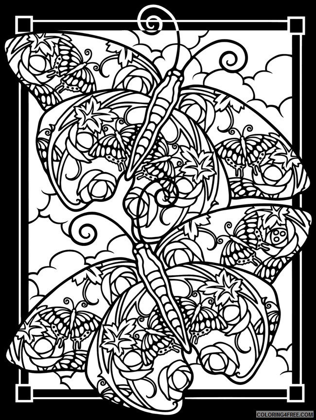 butterfly stained glass coloring pages for adults Coloring4free