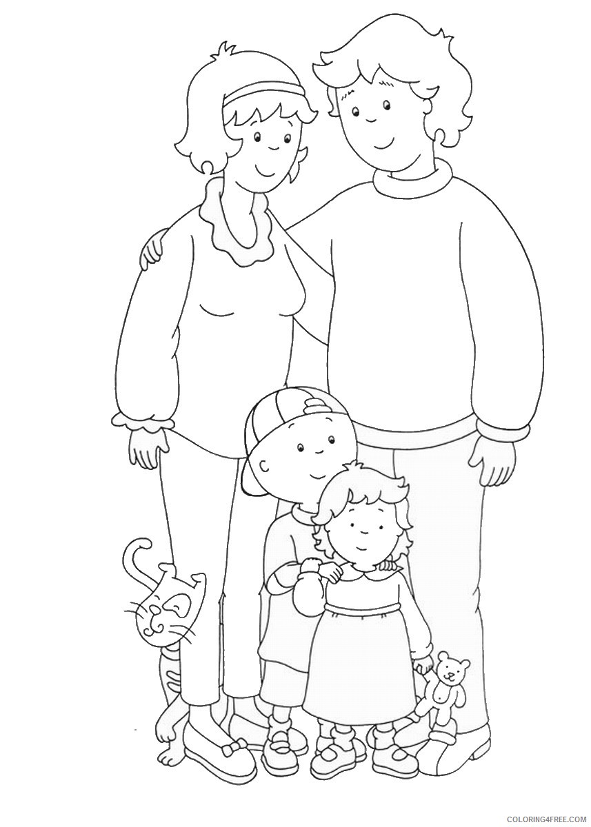 caillou coloring pages caillous family Coloring4free