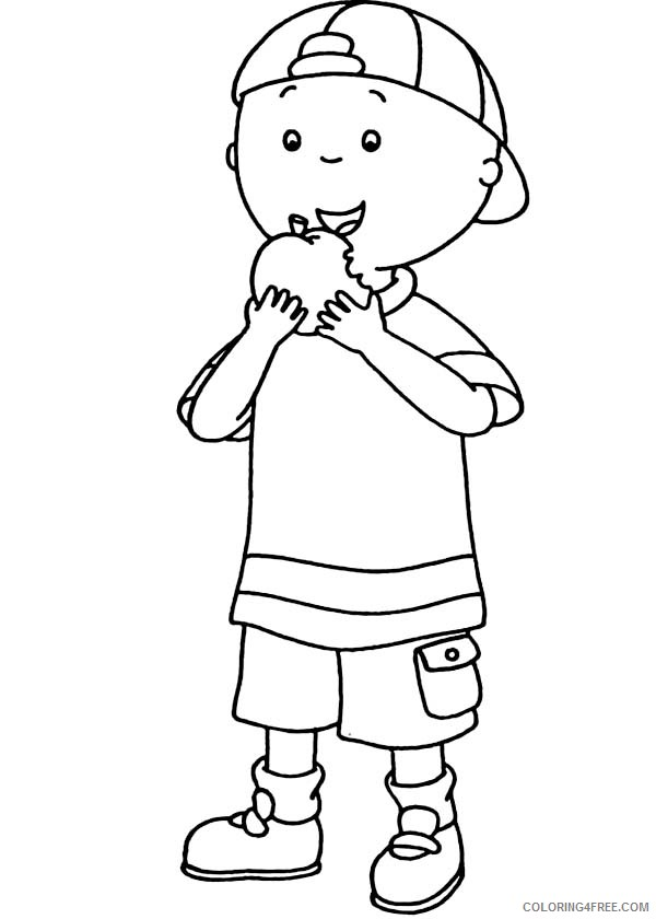 caillou coloring pages eating apple Coloring4free