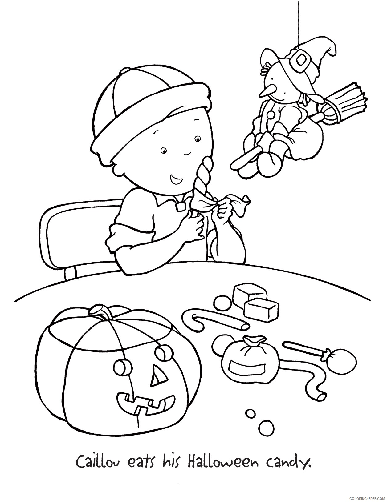 caillou coloring pages halloween Coloring4free