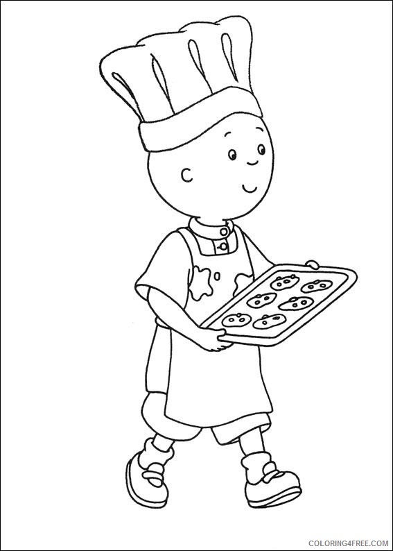 caillou coloring pages making cookie Coloring4free