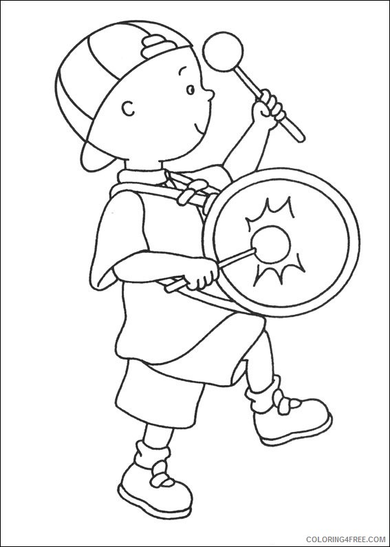 caillou coloring pages playing drum Coloring4free
