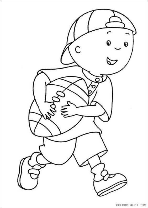 caillou coloring pages playing football Coloring4free