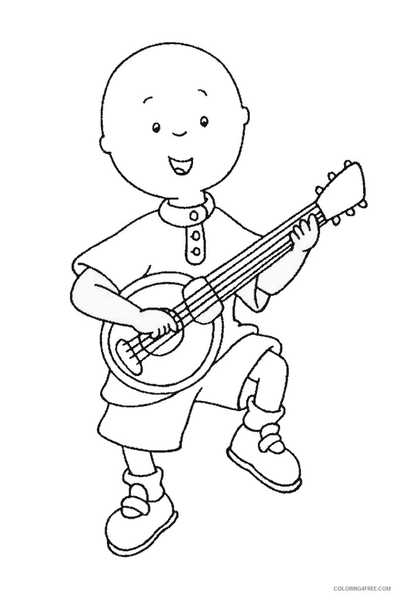 caillou coloring pages playing guitar Coloring4free