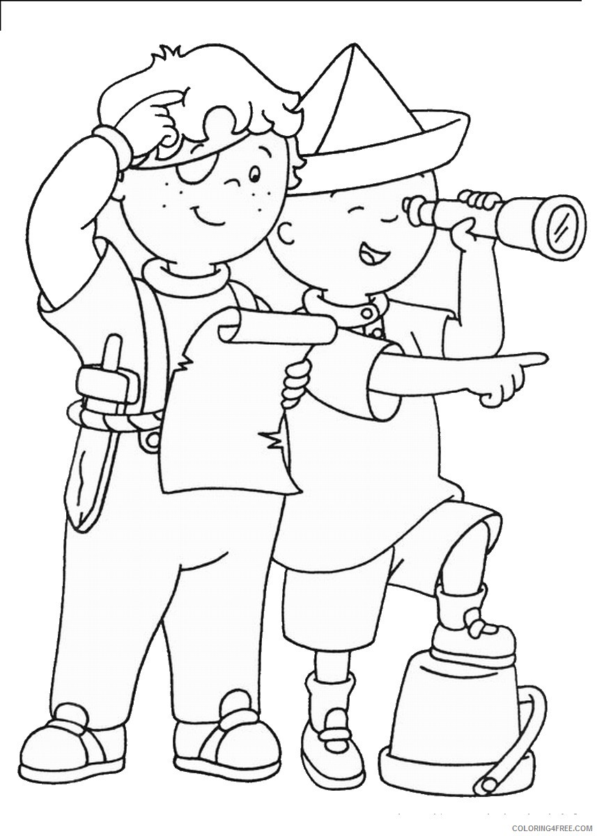 caillou coloring pages playing with leo Coloring4free