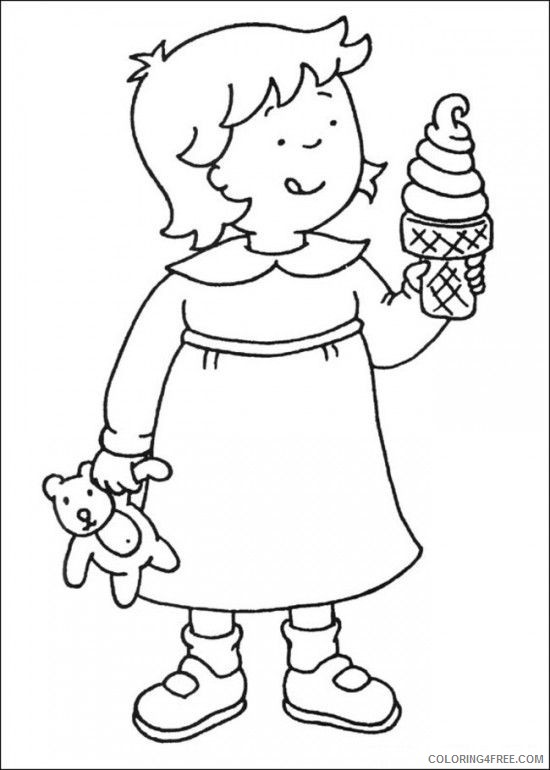 caillou coloring pages rosie eating ice cream Coloring4free