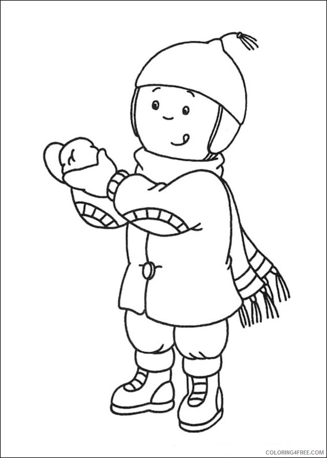caillou coloring pages wearing winter clothes Coloring4free
