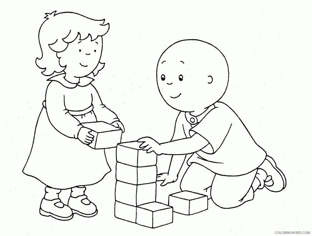 caillou coloring pages with rosie Coloring4free